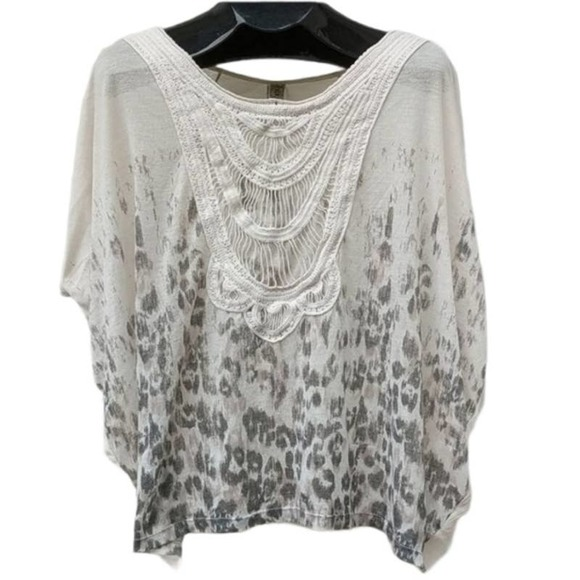 FREE PEOPLE Off-White Dolman Lace Leopard Small